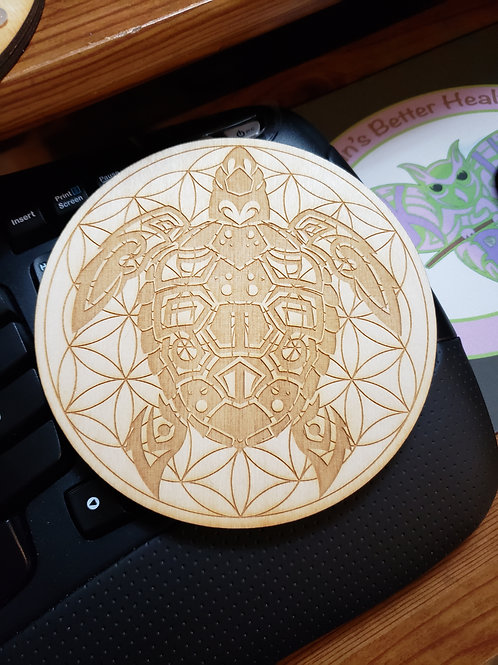 """Turtle Flower of Life 6"""" Grid Plate and Stones"""