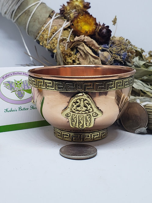Hand of Hamsa copper bowl