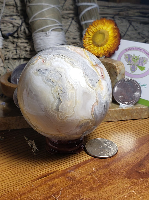 56mm Crazy Lace Agate Sphere, $48