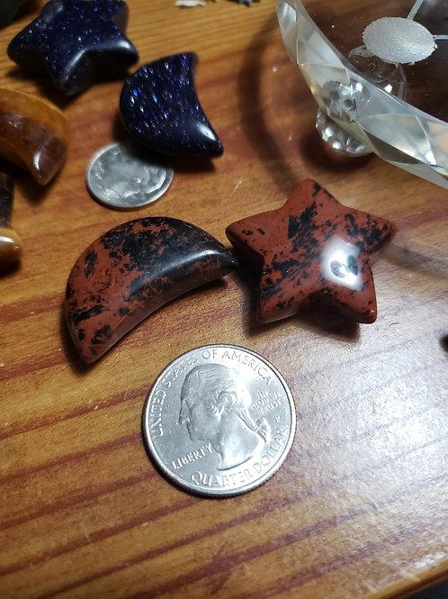 Mahogany Obsidian Moon and Star Set