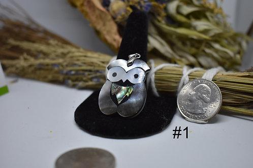 Abalone shell Owl Pendant