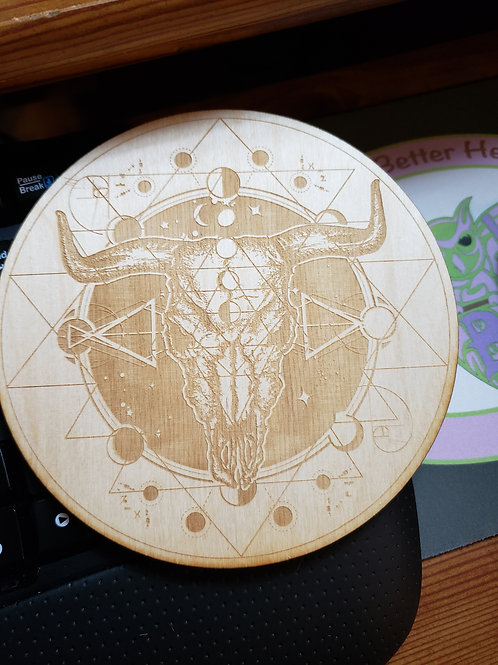 "Bull skull Moon Phase 6"" Grid Plate and Stones"