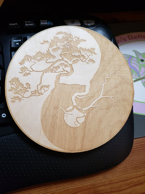 "Yin Yang Tree of Life 6"" Grid Plate and Stones"