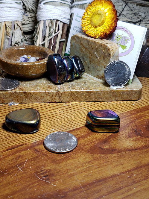 Magnetic Rainbow Hematite, Tumbled