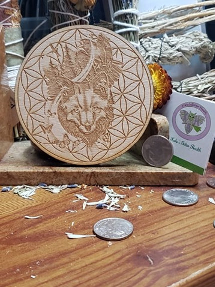 "Fox Raven Flower of Life 4"" Grid Board"