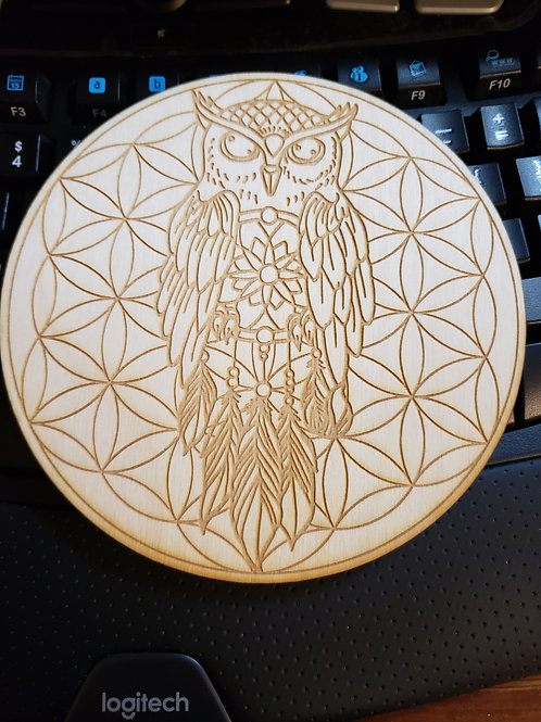 "Owl Flower of Life 6"" Grid Plate and Stones"