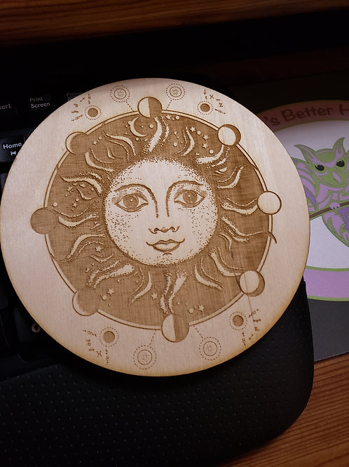 "Sun and Moon Phase 6"" Grid Plate and Stones"