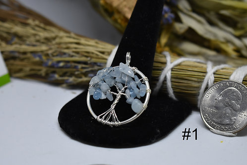 Aquamarine Tree of Life Pendant