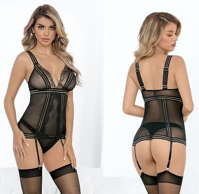 Stripped Elastic Bustier with Hose