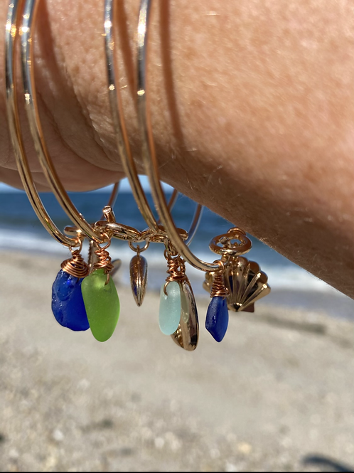 Gold beachy sea glass bangle bracelets