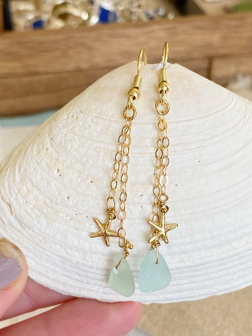 Sea foam sea glass gold plated starfish earrings
