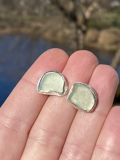 Sea foam sea glass stud earrings