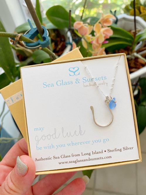 Sea glass horseshoe necklace