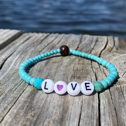 Love glass stretchy word bracelets