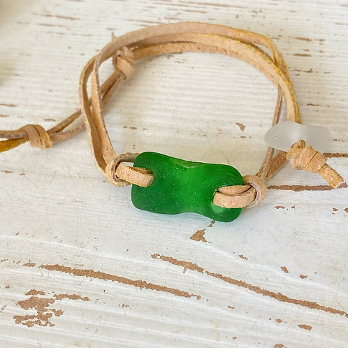 Beige faux suede green sea glass wrap bracelet