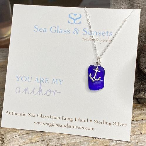 Anchor sea glass necklace