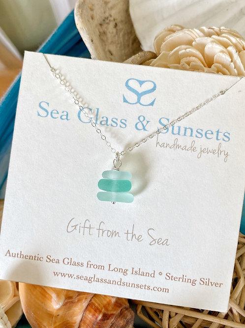 Sea Foam Sea Glass Stacker Necklace