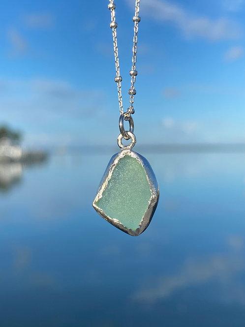 Cucumber Sea foam open bezel necklace
