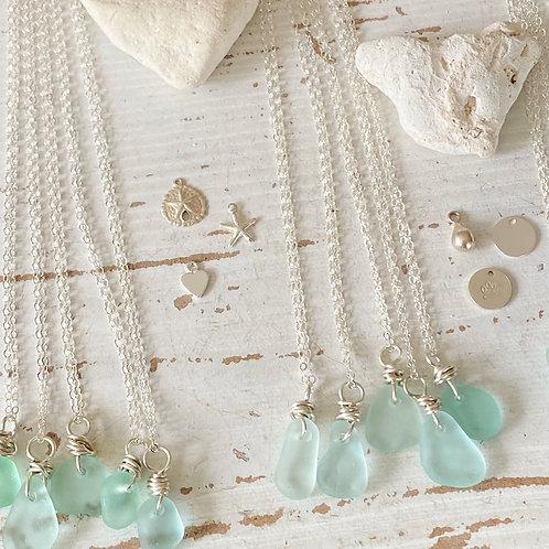 Sea Foam sea glass mermaid tears necklaces