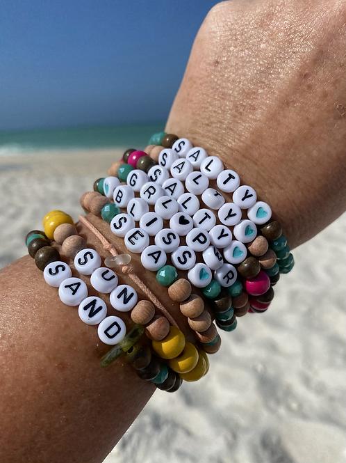 Boho word bracelet