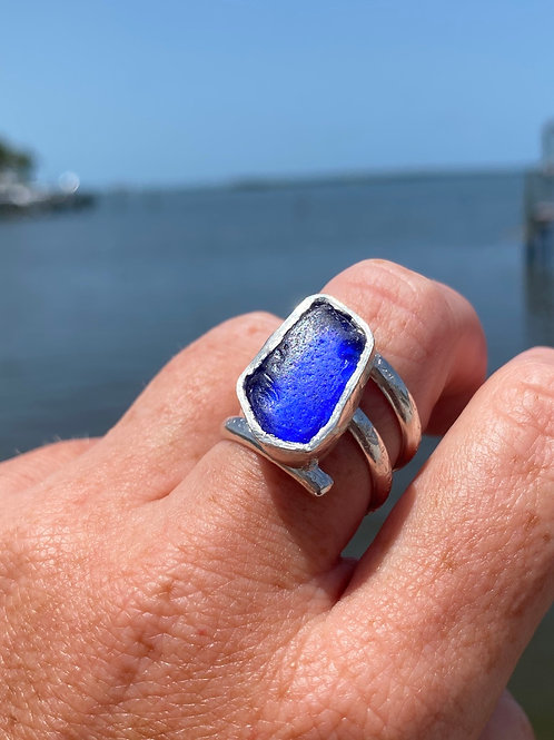 Large Cobalt blue sea glass statement ring