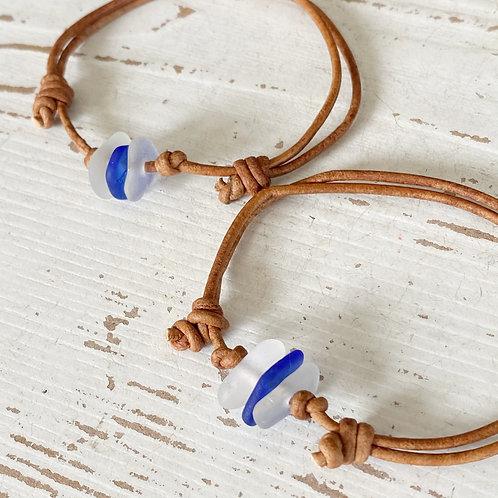 Leather Cord Bracelet/anklet Sea Glass Trio