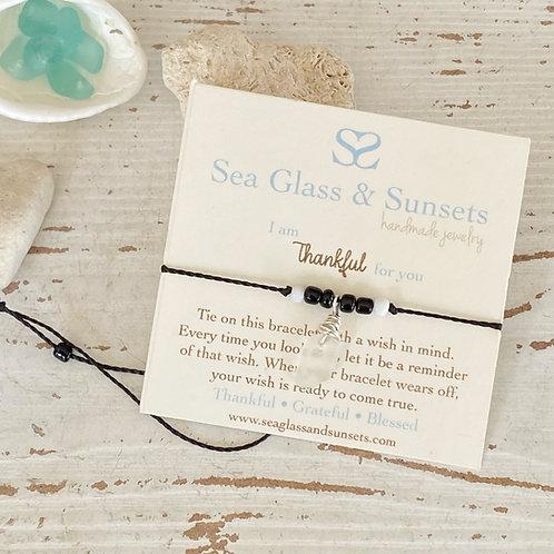 Thankful adjustable sea glass wish bracelet