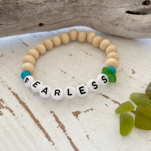 Fearless Wooden Sea glass word bracelets