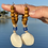 Thumbnail: Beachy bohemian recycled blue glass shell earrings