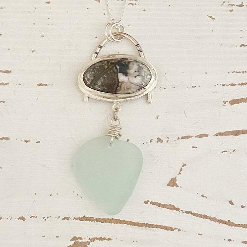 Abstract bezel set sea foam sea glass necklace