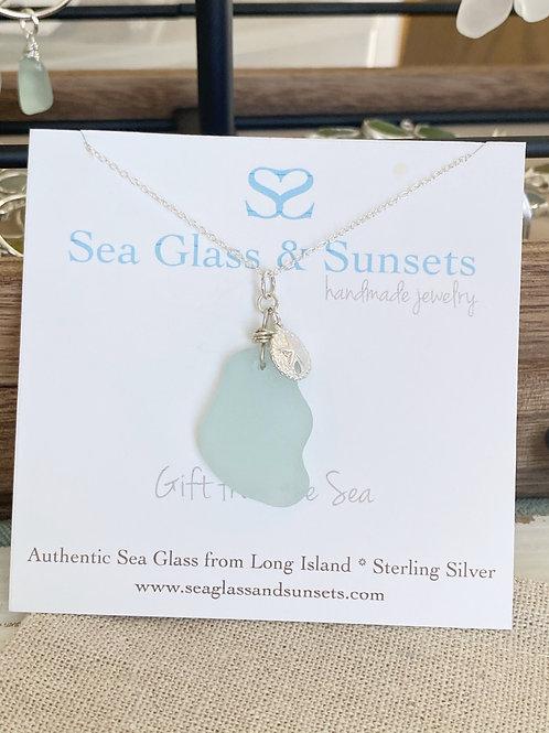 Sea foam sea glass sand dollar necklace