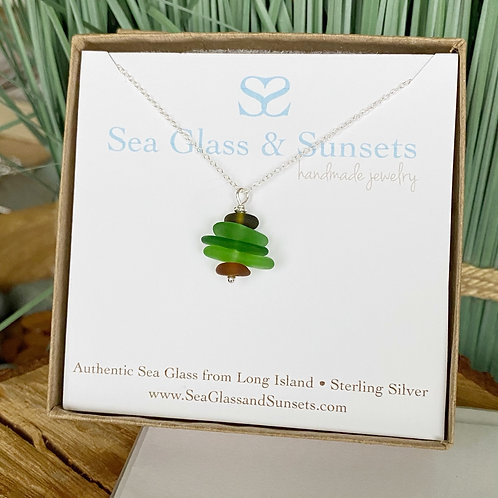 Christmas tree sea glass necklace