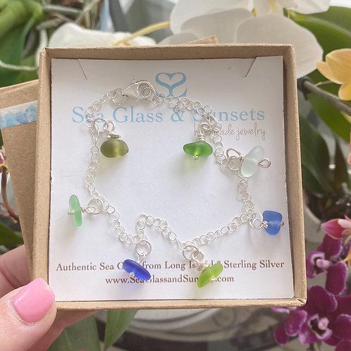 Multi colored sea glass bracelet/anklet
