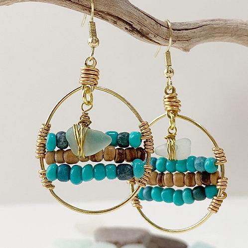 Beachy bohemian Sea Glass statement earrings