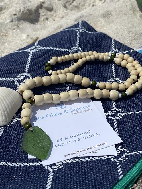 Mermaid Mala Bead Sea Glass Necklace