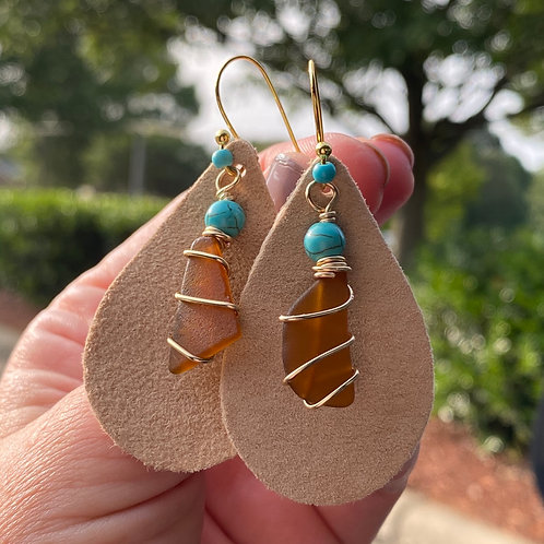 Suede teardrop sea glass earrings