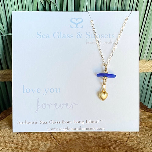Blue 💙 You are loved gold filled sea glass heart necklace
