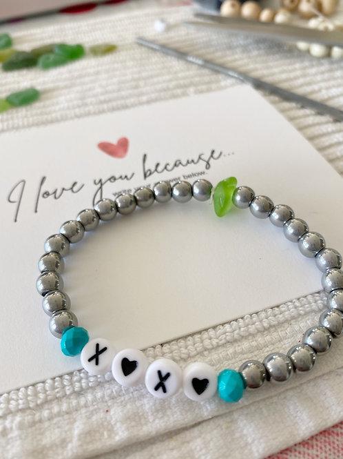 X🖤X🖤 Sea glass word bracelets