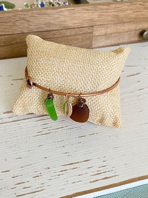 Sea Glass Copper Bangle Bracelet