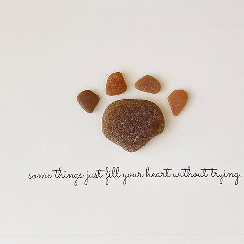 Some things just fill your heart without trying Sea glass framed paw art