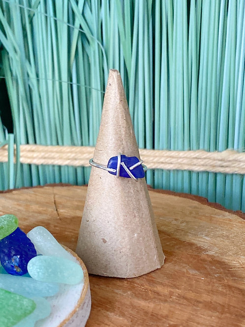 Custom made Prong set cobalt sea glass ring