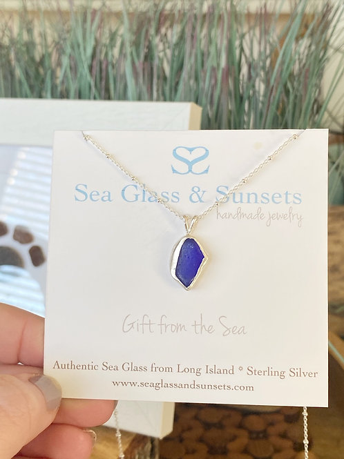 Cobalt blue open bezel necklace