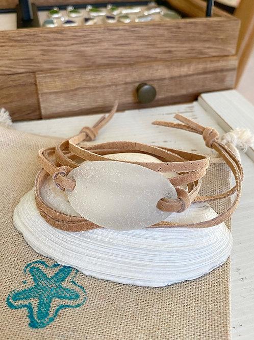 Clear Sea Glass wrap bracelet