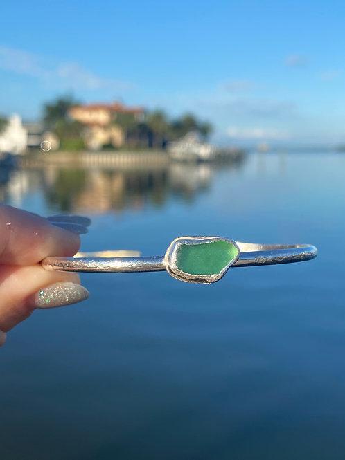 Sea foam bezel sea glass cuff bracelet