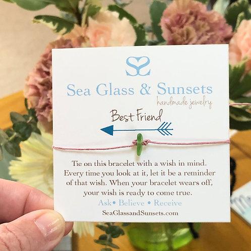 Best Friend Sea Glass  Wish Bracelet
