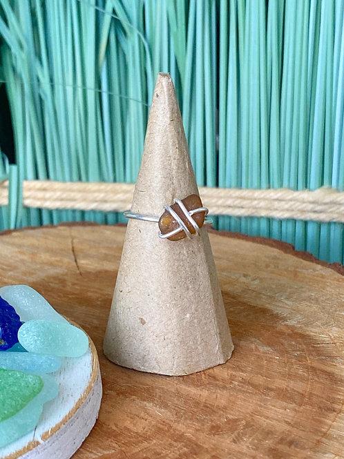 Custom made Prong set brown sea glass ring