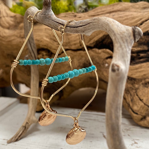 Gold and turquoise clam shell statement earrings