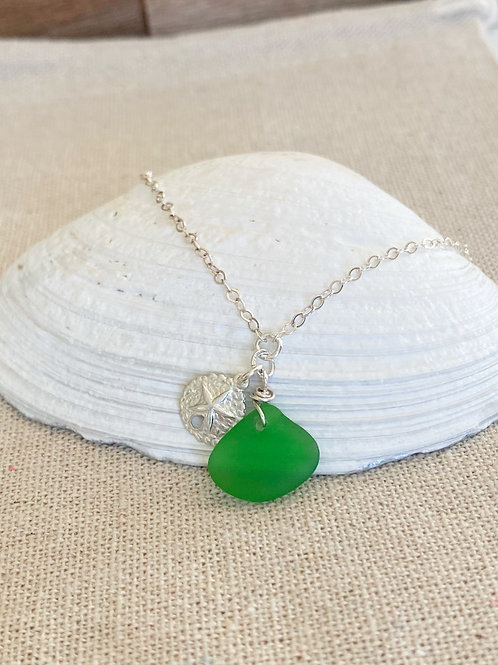 Green  sea glass sterling silver sand dollar bracelet