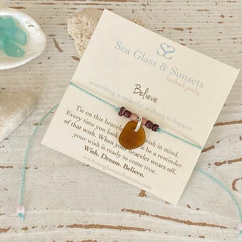 Believe adjustable sea glass wish bracelet