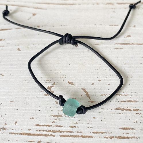 Leather Cord Bracelet/anklet Sea Glass